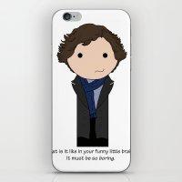 sherlock holmes iPhone & iPod Skins featuring Sherlock Holmes by Jen Talley