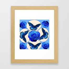 BLUE ROSES & BLUE BUTTERFLIES MODERN ART Framed Art Print