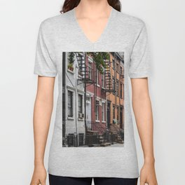 Picturesque street view in Greenwich Village, New York Unisex V-Neck