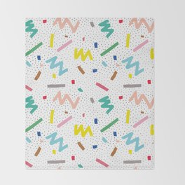 Memphis Pattern Stripes Zigzag and Blobs Throw Blanket
