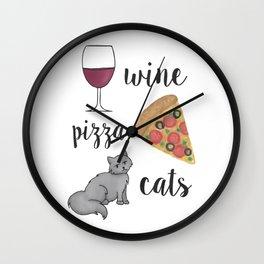 Wine Pizza Cats Wall Clock
