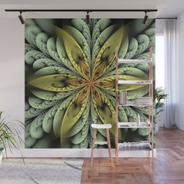 Golden flower with mint swirls Wall Mural