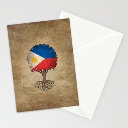 Vintage Tree of Life with Flag of Philippines Stationery Cards