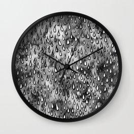 Grey Raindrops Wall Clock