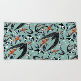 Swallows Martins and Swift pattern Turquoise Beach Towel