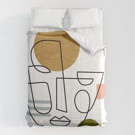 Monoline Face on Geometric Shapes Comforters