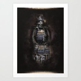 Japanese armor artwork, samurai armor pencil and digital Art Print