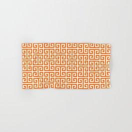 Orange and White Greek Key Pattern Hand & Bath Towel