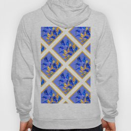 PATTERNED MODERN ABSTRACT BLUE & GOLD CALLA LILIES Hoody
