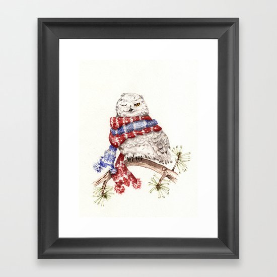 Winking Arctic Owl in Scarf Framed Art Print