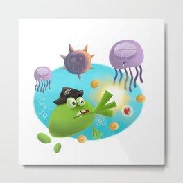 Monster pirate Vs Jellyfish Metal Print