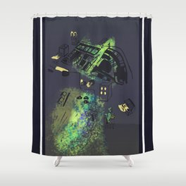 hungry cats - Nighttime Shower Curtain