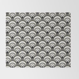Monochrome and Gold Art Deco Scallops Throw Blanket