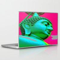 buddah Laptop & iPad Skins featuring Buddah Head 05; Pink Dachori by Kether Carolus