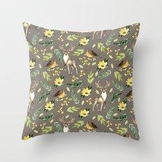 Deer and birds Throw Pillow