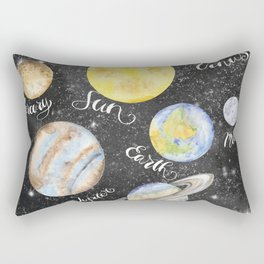 Watercolor Planets Names Rectangular Pillow