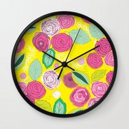 Belles Fleurs - roses bright pattern Wall Clock
