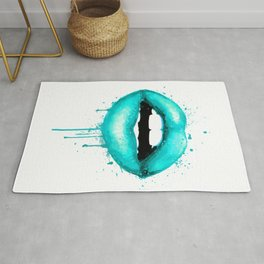 Turquoise Lips Art Makeup Decor Watercolor Print Kiss Love Sexy Girl Fashion Poster Lipstick Rug