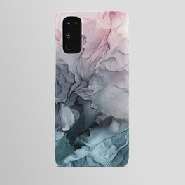 Blush and Payne's Grey Flowing Abstract Painting Android Case
