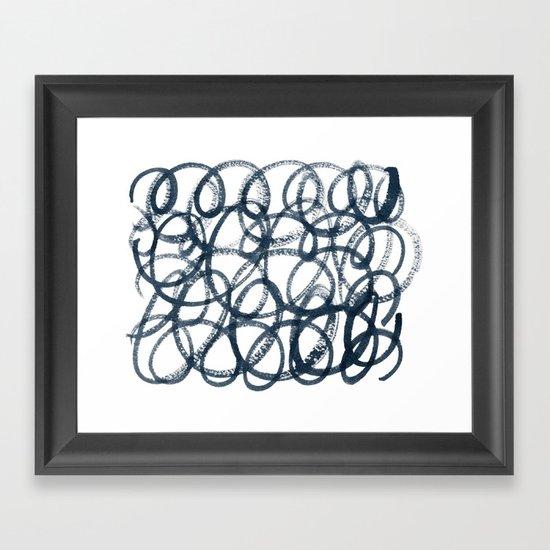 Navy Swirls Framed Art Print