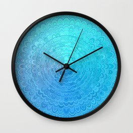 Light Blue Floral Circle Mandala Wall Clock