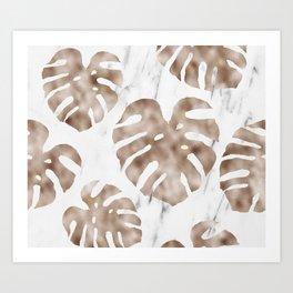 Rose gold monstera on white marble Art Print