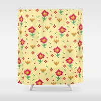 pixel Shower Curtains featuring Pixel by Kakel
