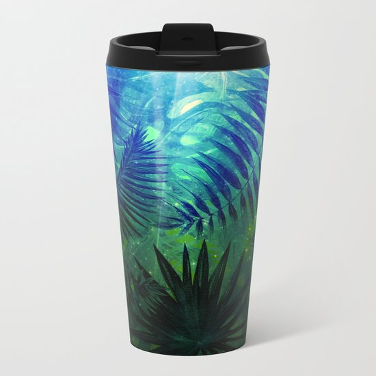 Blue Aloha- Morning Light abstract Tropical Palm Leaves and Monstera Leaf Garden Metal Travel Mug