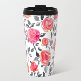 Roses on White - a watercolor floral pattern Travel Mug