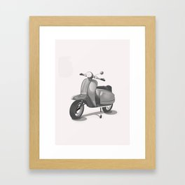 Vintage Scooter black and white Framed Art Print