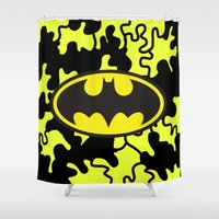 gotham Shower Curtains featuring Gotham by Melis Kalpakçıoğlu