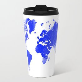 Blue watercolor world map Travel Mug