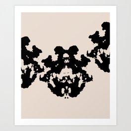 Black Rorschach inkblot Art Print