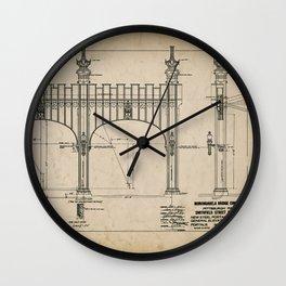 Pittsburgh Bridge Wall Art, 1914 Blueprint, Pittsburgh History & Architecture Wall Clock