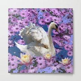WHITE  SWAN LILAC FLOWERS WATER ART Metal Print