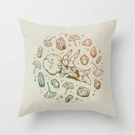 Triceratops Rocks! | Leaf Green & Pumpkin Spice Ombré Throw Pillow