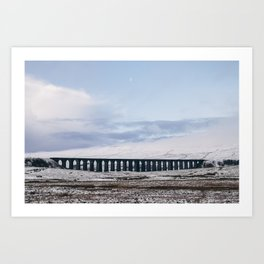 Snow and Moon over the Ribblehead Viaduct. Settle to Carlisle Railway, North Yorkshire, UK. Art Print