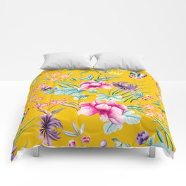 Chinoiserie mustard yellow floral Comforters