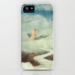 Little girl on the swing in the  fantastic country in sky  iPhone Case