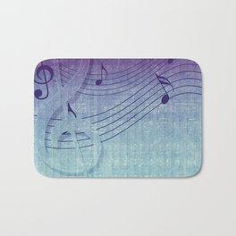 Aqua Purple Ombre Music Notes Bath Mat