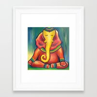 ganesha Framed Art Prints featuring Ganesha by Amanda Rose Whittaker