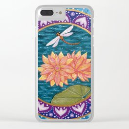 Waterlily Dragonfly Mandala Clear iPhone Case