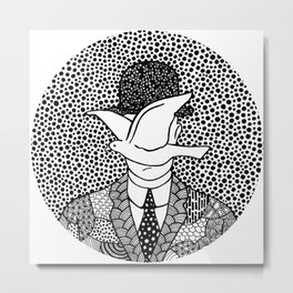 Man in a bowler hat. Magritte Metal Print