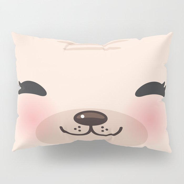 Kawaii funny cat with pink cheeks and winking eyes on pink background Pillow Sham