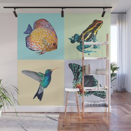 Colibri Frog Fishie Moth Animal Illustration Wall Mural