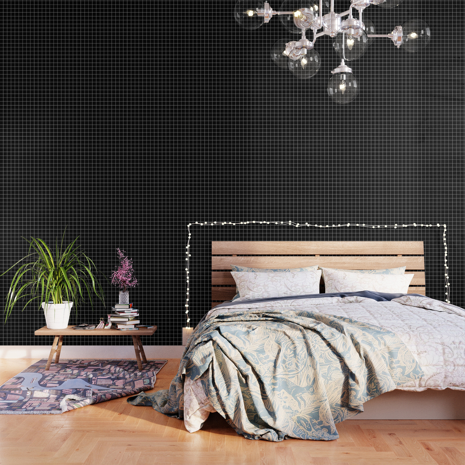 Grid Pattern Line Stripe Black And White Minimalist Geometric Stripes Lines Wallpaper By Beautifulhomes Society6