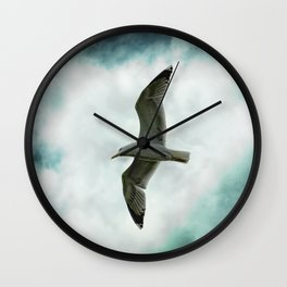Seagull Before A Cloudy Sky Wall Clock