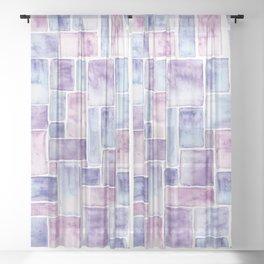 Watercolour Mosaic Pattern | Original Colors Sheer Curtain