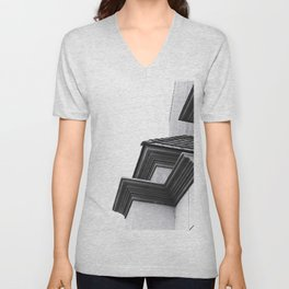 buildings in the city in black and white Unisex V-Neck
