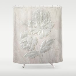 Embossed Painterly White Floral Abstract Shower Curtain